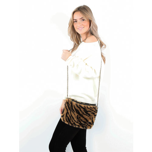 LADYLIKE FASHION Fluffy Fake Fur Bag Zebra