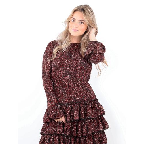 IVIVI Leo Print Ruffle Dress Black