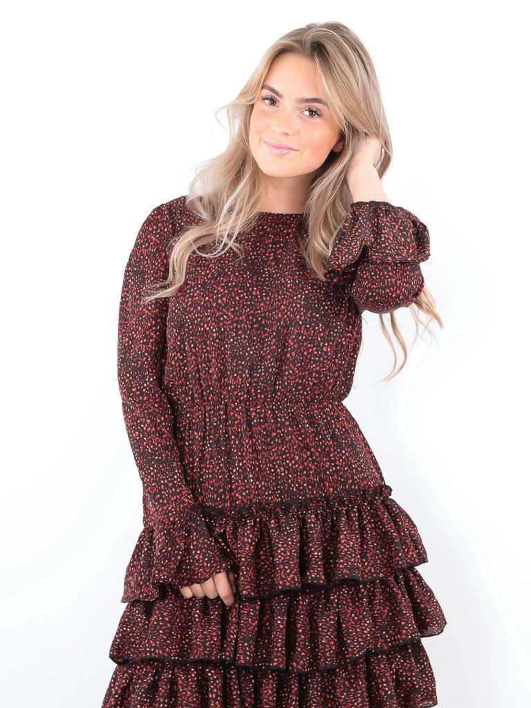 IVIVI - LADYLIKE FASHION Leo Print Ruffle Dress Black