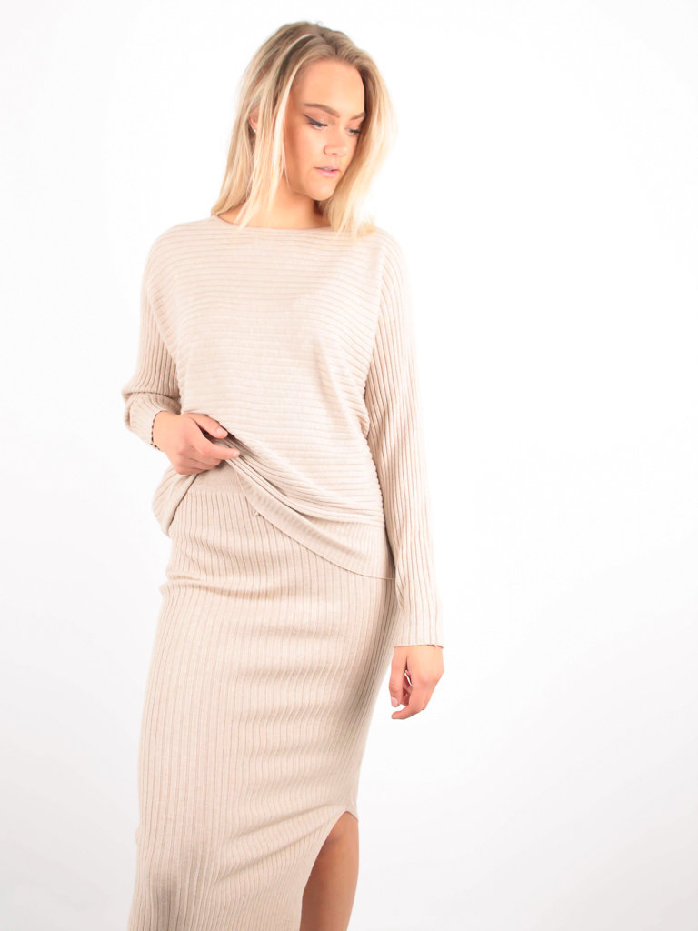 PURPLE QUEEN - LADYLIKE FASHION Ribbed Midi Skirt Beige
