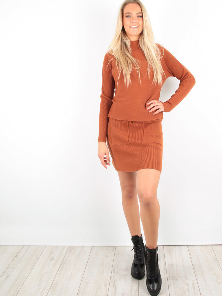 PURPLE QUEEN - LADYLIKE FASHION Ribbed Mini Skirt Rust