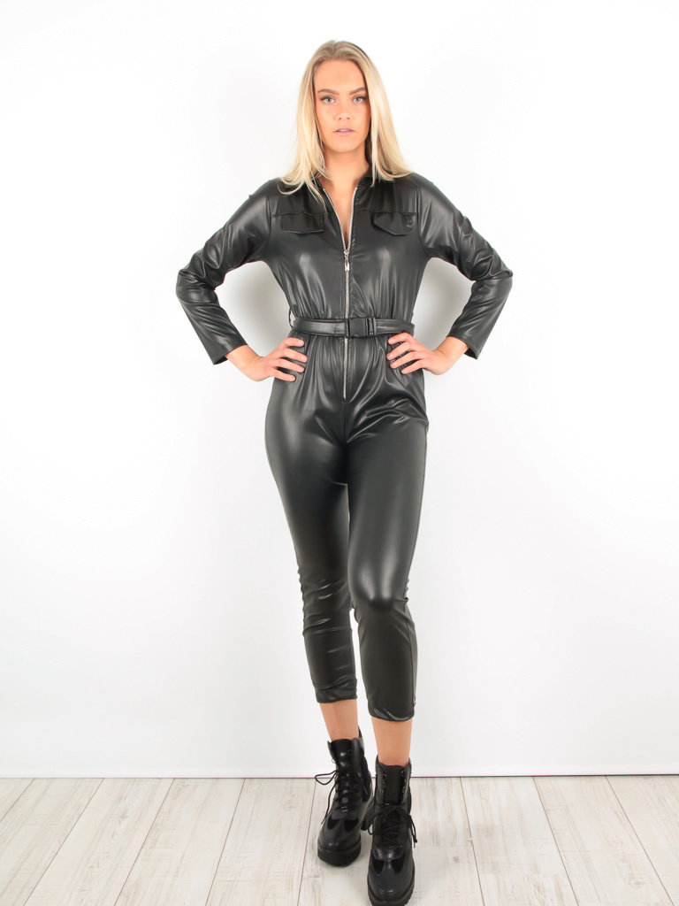 Leather Look Jumpsuit Belt