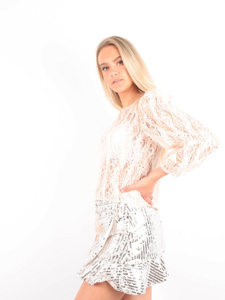 VERA & LUCY - LADYLIKE FASHION Lace Top Long Sleeve Beige