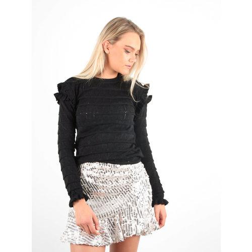 MAY Ajour Knit Jumper Black/Glitter