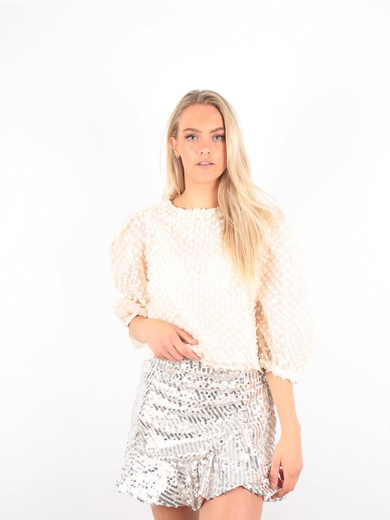 VERA & LUCY - LADYLIKE FASHION Dotted Shirt Puffy Sleeve Beige