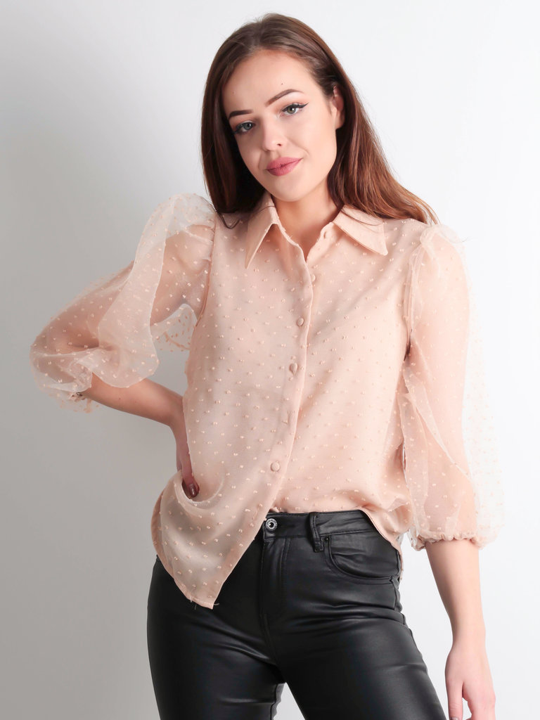 VERA & LUCY Sheer Dotted Blouse Nude