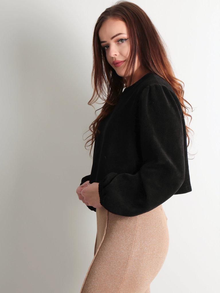 EIGHT PARIS - LADYLIKE FASHION Cropped Jumper Velvet Black