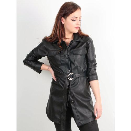 LADYLIKE FASHION PU Leather Look Blouse Jacket Black