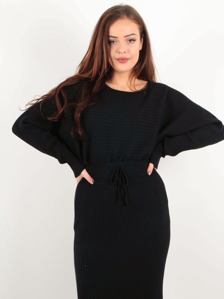 PURPLE QUEEN - LADYLIKE FASHION Ribbed Long Sleeve Jumper Black