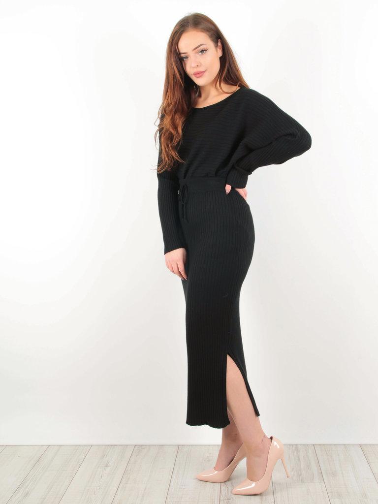 PURPLE QUEEN - LADYLIKE FASHION Ribbed Midi Skirt Black