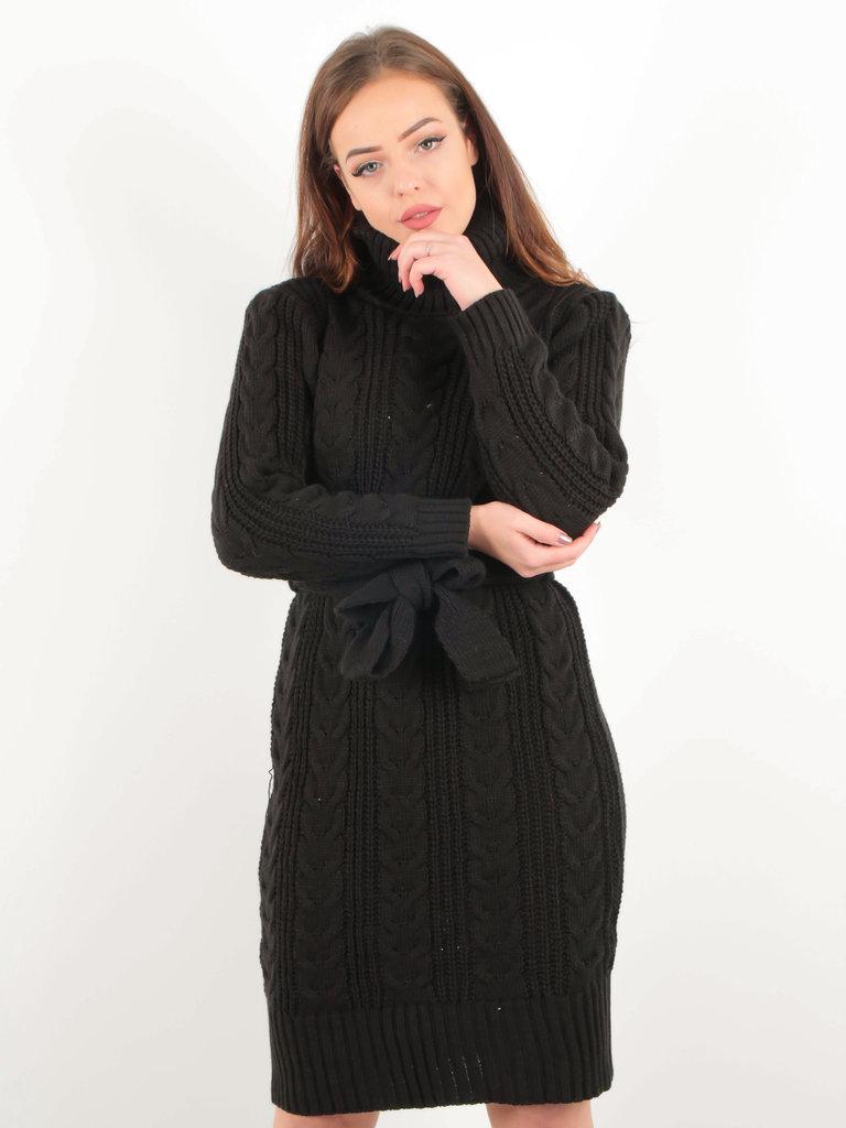 LADYLIKE FASHION Knitted Roll Neck Belt Dress Black