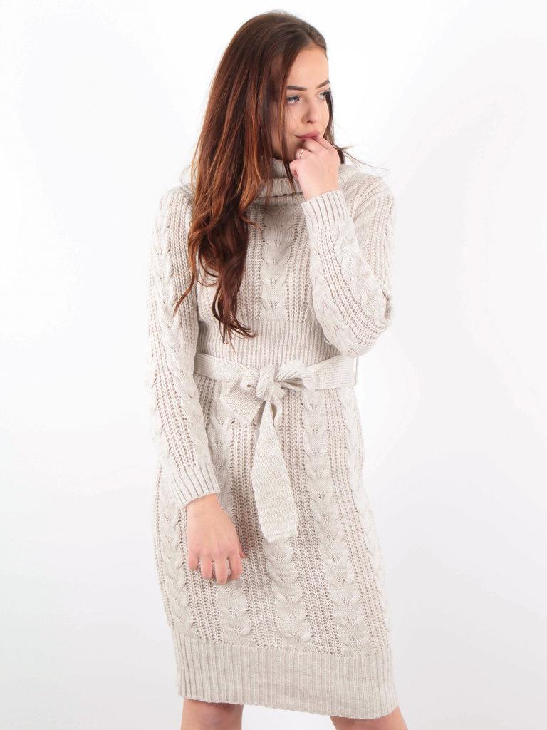 LADYLIKE FASHION Knitted Roll Neck Belt Dress Beige