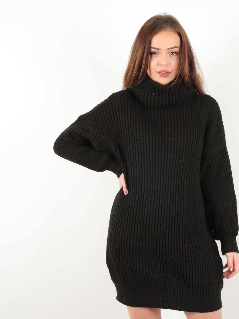 LADYLIKE FASHION Knitted Roll Neck Dress Black