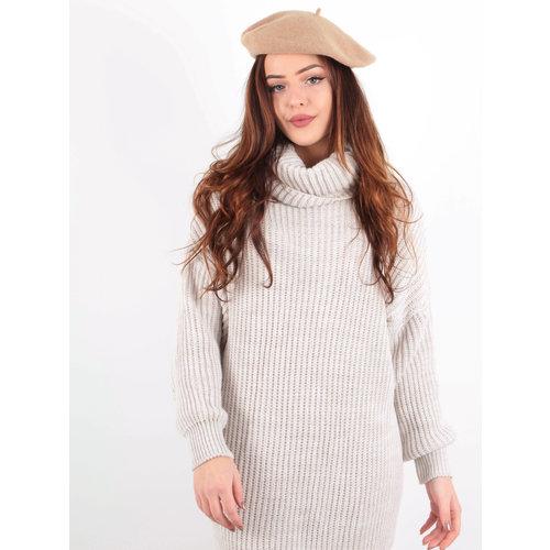 LADYLIKE FASHION Knitted Roll Neck Dress Beige