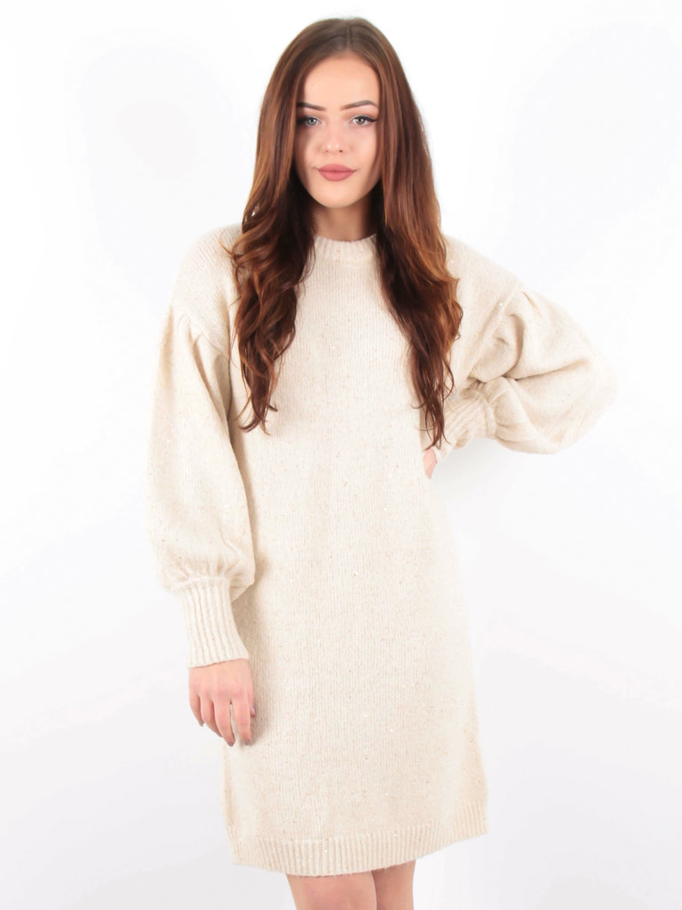 BISOU'S PROJECT Oversized Knitted Dress Glitter/Nude