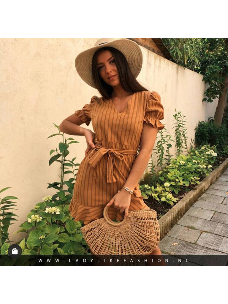EIGHT PARIS - LADYLIKE FASHION Striped Dress Puffed Sleeve Camel