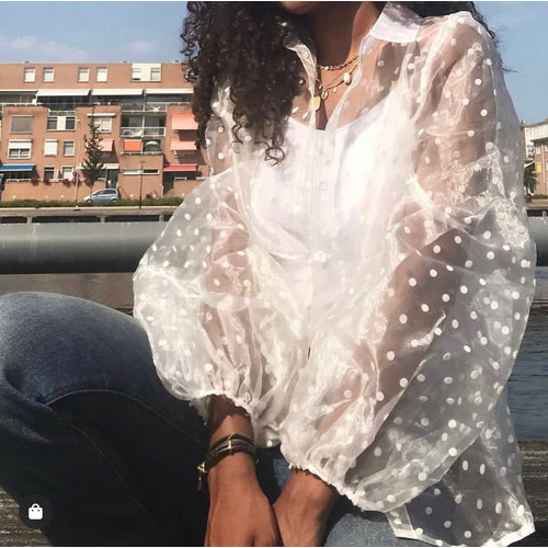 CHERRY KOKO - LADYLIKE FASHION Sheer Dots Blouse White