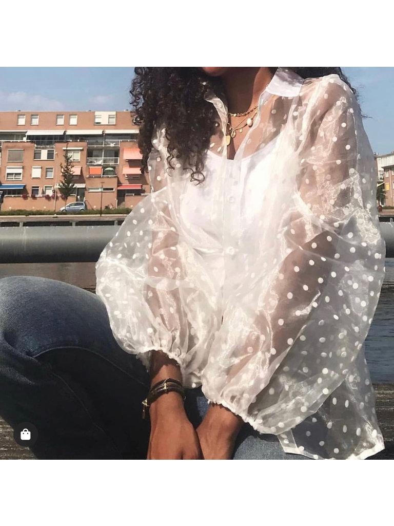 CHERRY KOKO Sheer Dots Blouse White