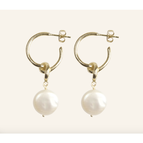 Big Freshwater Pearl With Knot Earrings