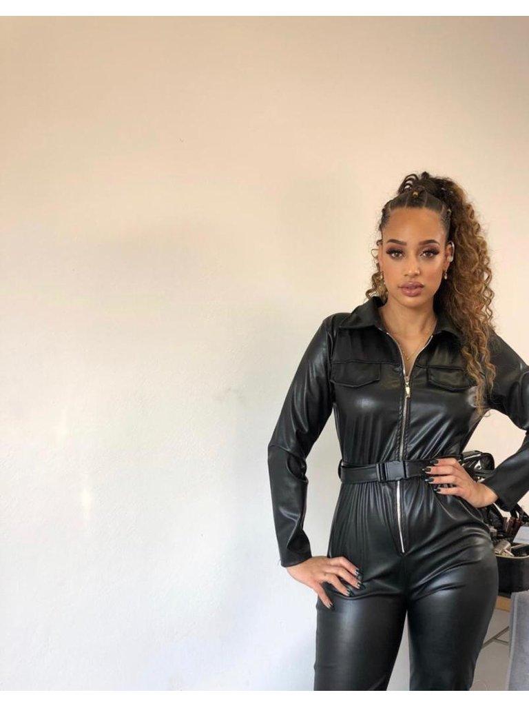 Leather Look Jumpsuit Belt