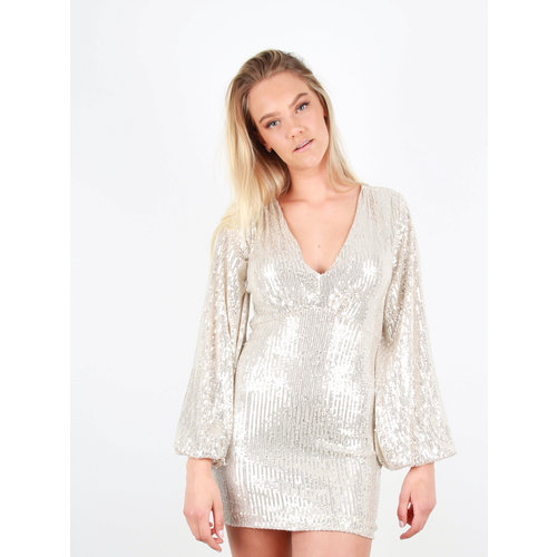 RETRO ICONE - LADYLIKE FASHION Sequin V-Neck Dress Beige