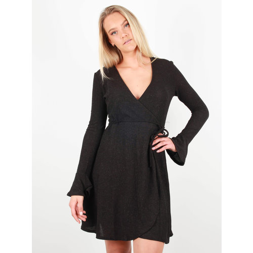 EIGHT PARIS - LADYLIKE FASHION Glitter Wrap Dress Black