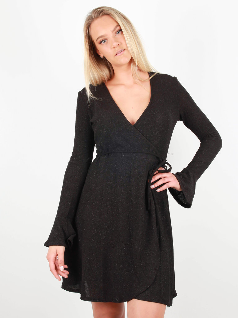 EIGHT PARIS Glitter Wrap Dress Black