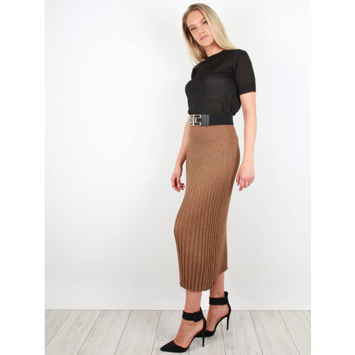 AN'GE Pleated Lurex Skirt Brown/Gold