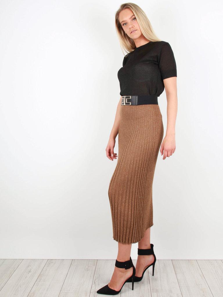 AN'GE - LADYLIKE FASHION Pleated Lurex Skirt Brown/Gold