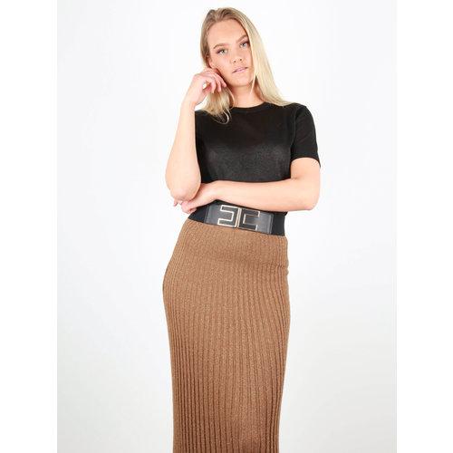 BY CLARA Knitted Short Sleeve Shimmer jumper Black