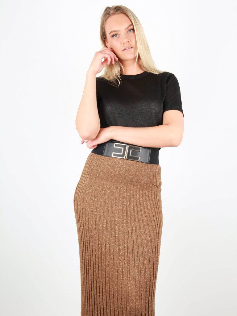 BY CLARA - LADYLIKE FASHION Knitted Short Sleeve Shimmer jumper Black