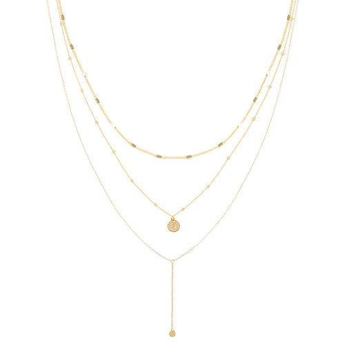 YEHWANG Necklace Layering Coin Gold