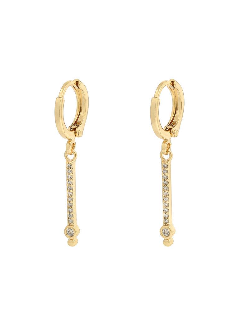 YEHWANG Earrings Bar Rhinestones Gold
