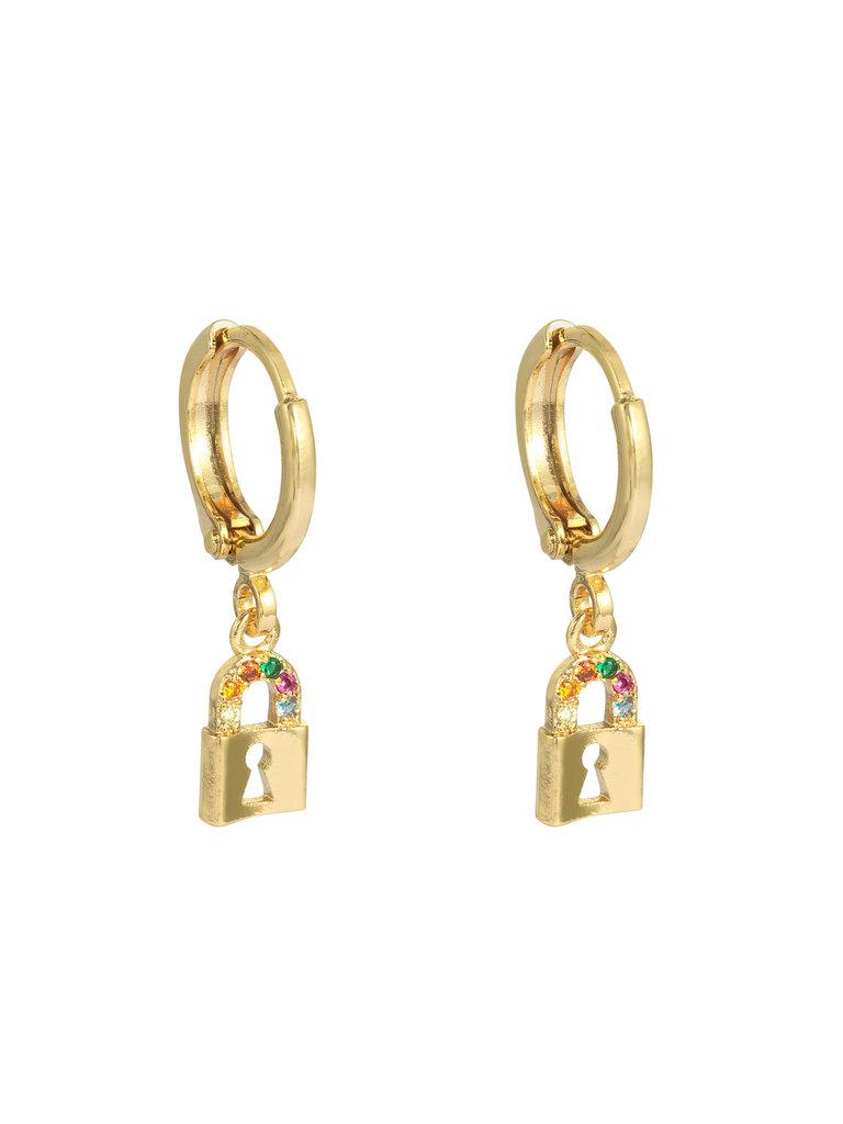 YEHWANG Earrings Lock Your Heart Gold