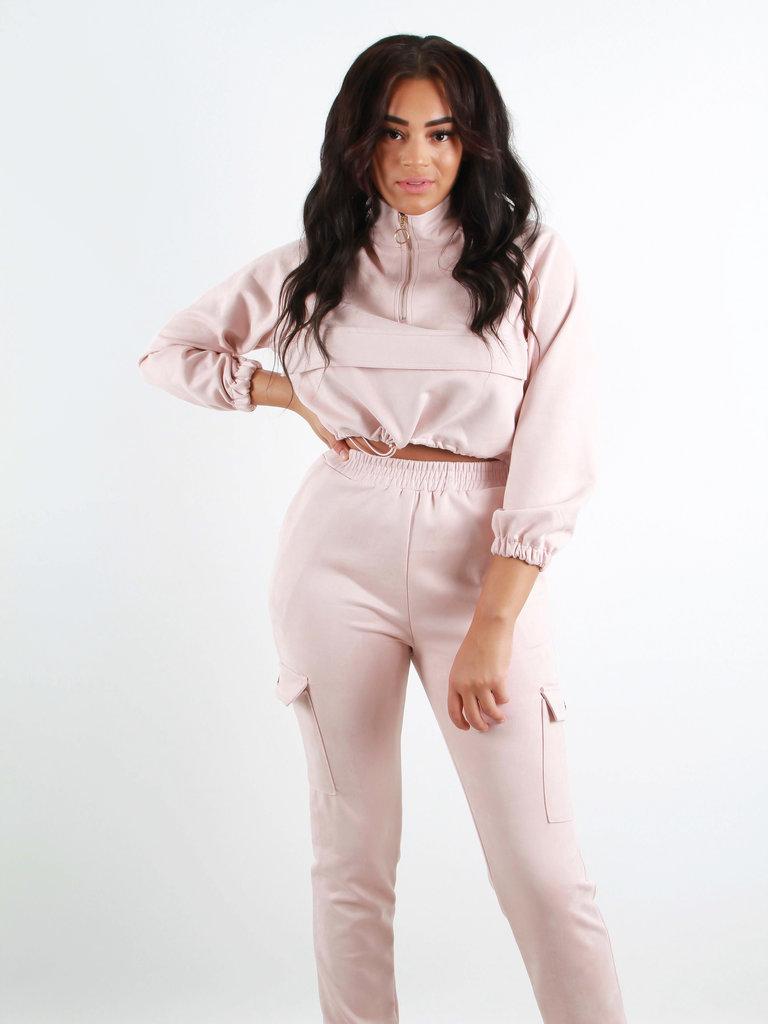 DRŌLE DE  COPINE Soft Velvet Jogger Pink