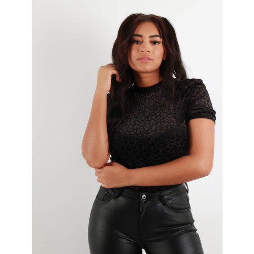 IVIVI Luipaard Mesh Shirt Zwart