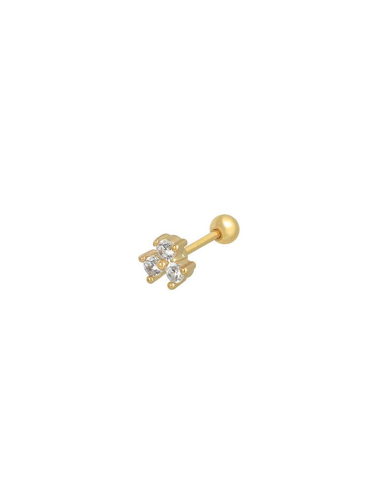 YEHWANG Earrings Triple Luck Gold