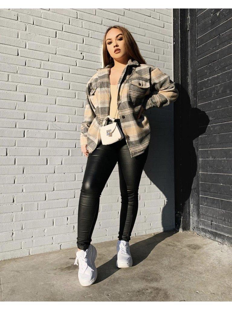 QUEEN HEARTS Lederen Look Jeans Zwart