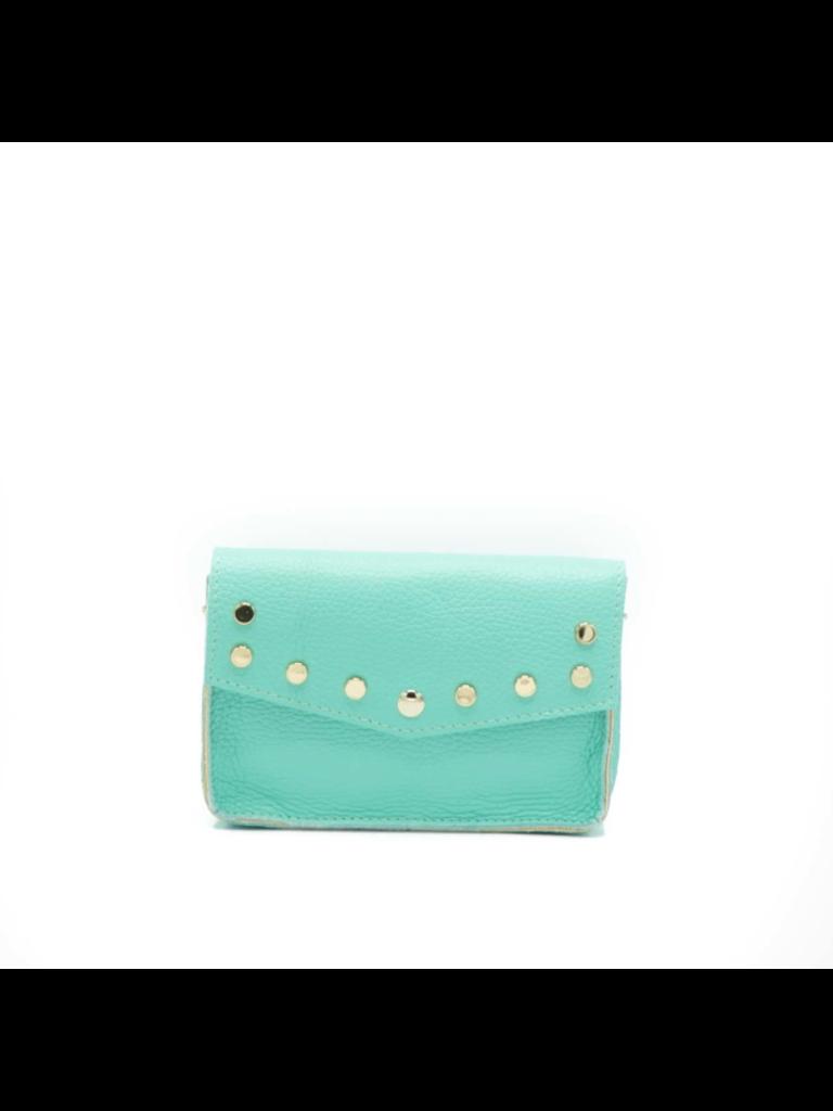 LADYLIKE FASHION Leather Grain Crossbody Bag Turquoise