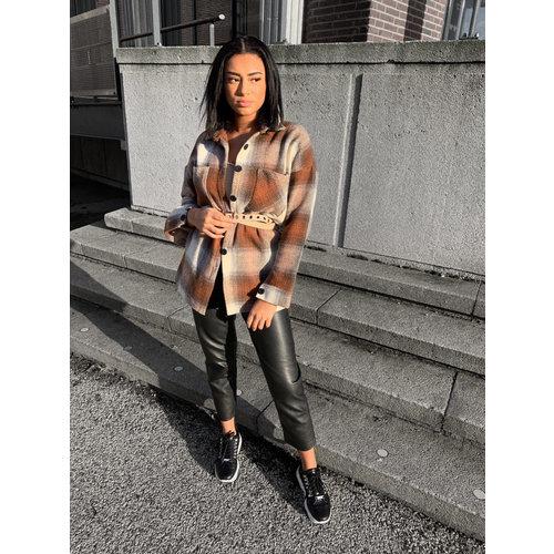 SHK Checker Jacket White/Brown