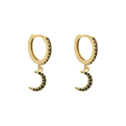 LADYLIKE THE LABEL Earrings Sparkling Moon Gold/Black