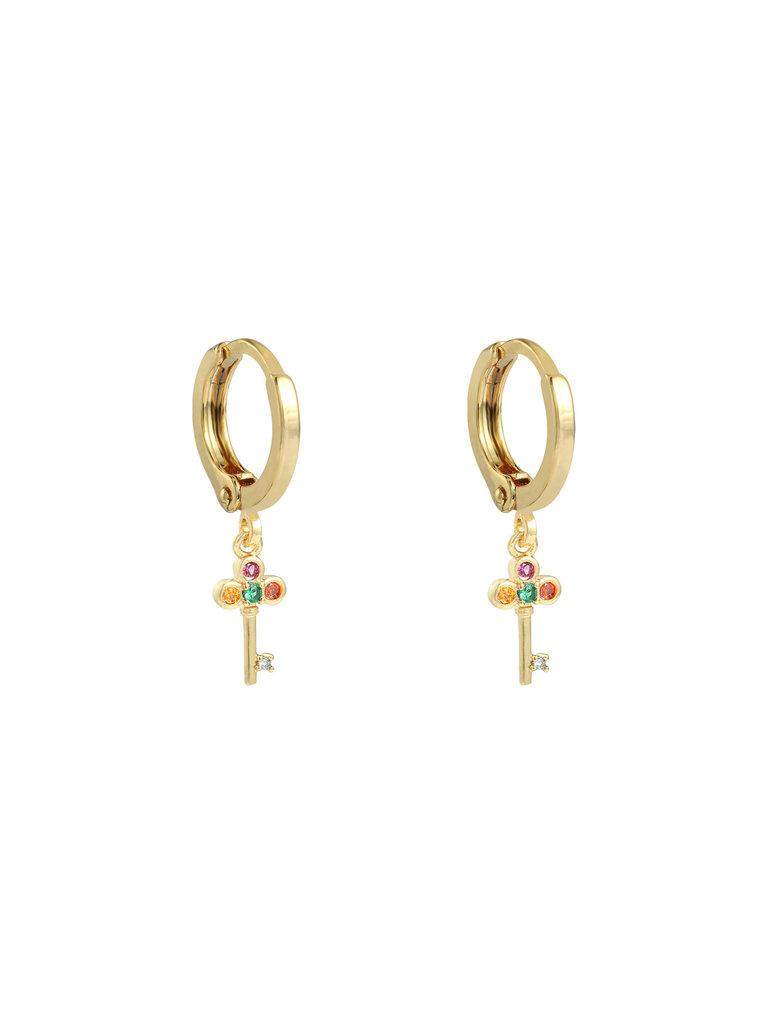 LADYLIKE THE LABEL Earrings Key of Your Heart Gold/Multi