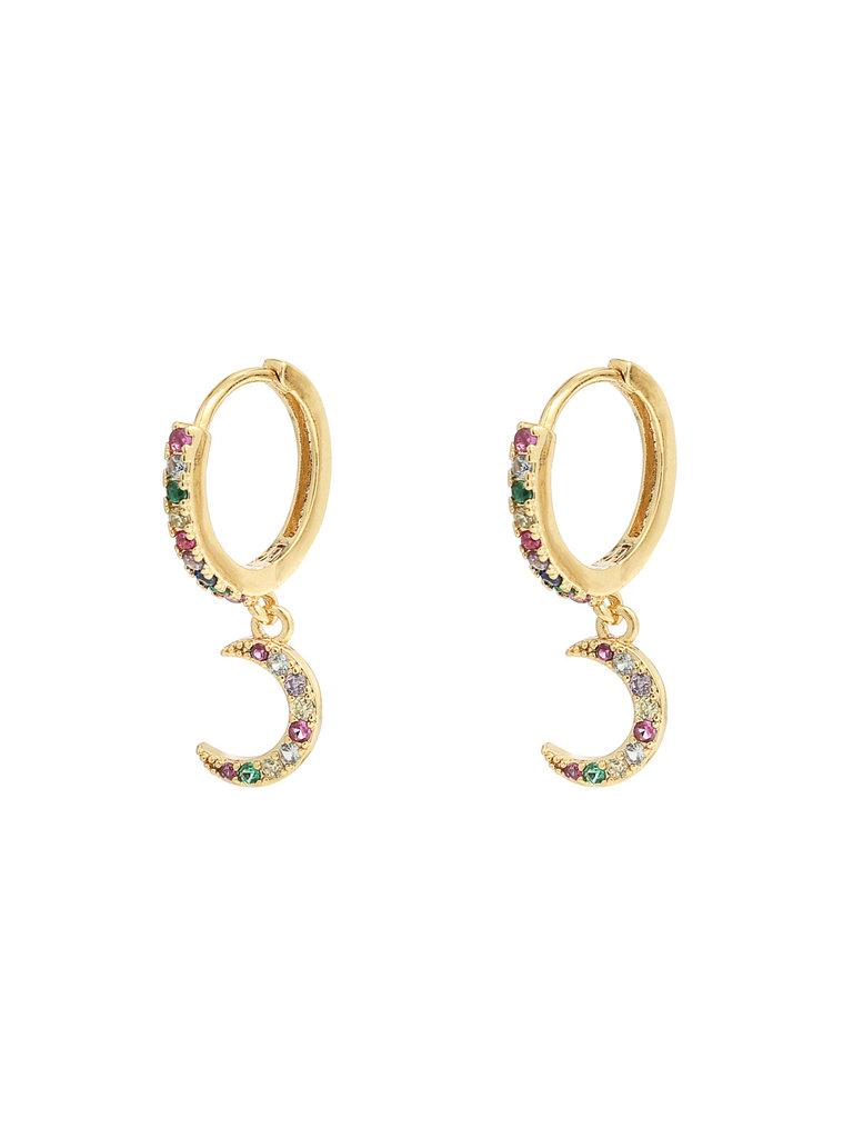 LADYLIKE THE LABEL Earrings Sparkling Moon Gold/Multi