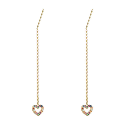 Ladylike the Label Earrings Chained Heart Gold/Multi