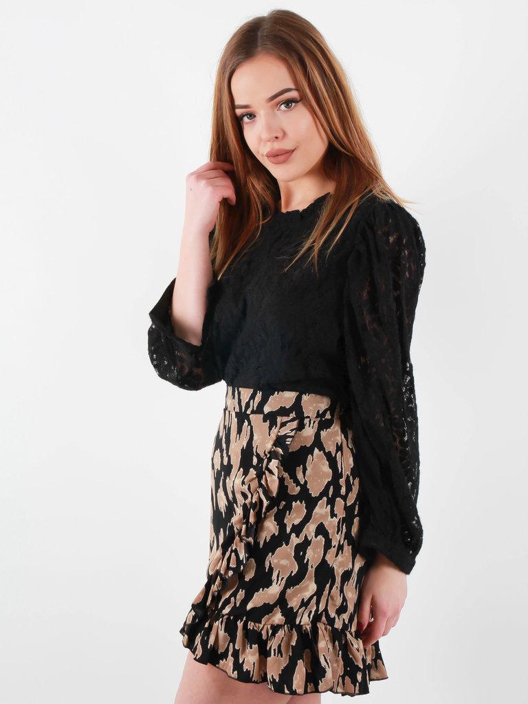 BY CLARA Leopard Print Wrap Skirt Black