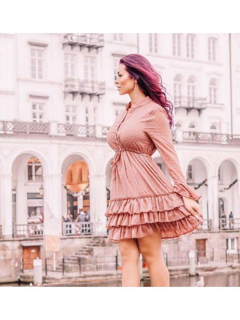 VINTAGE DRESSING Dot Print Ruffle Dress Old Rose
