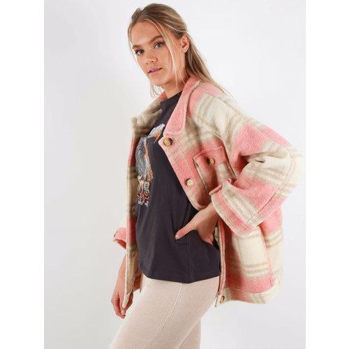 LADYLIKE FASHION Checkered Jacket Peach/Pink
