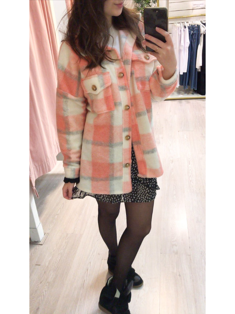 BELLAVIE Checkered Jacket Peach/Grey