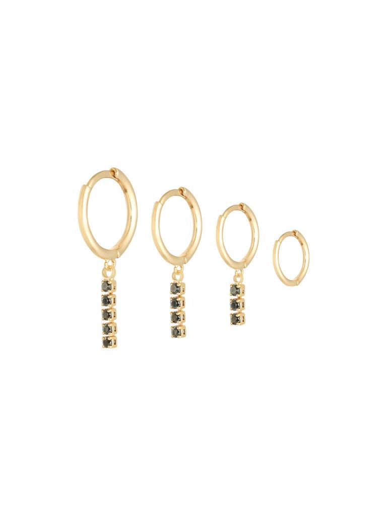 YEHWANG Earrings Set Dangling Diamonds