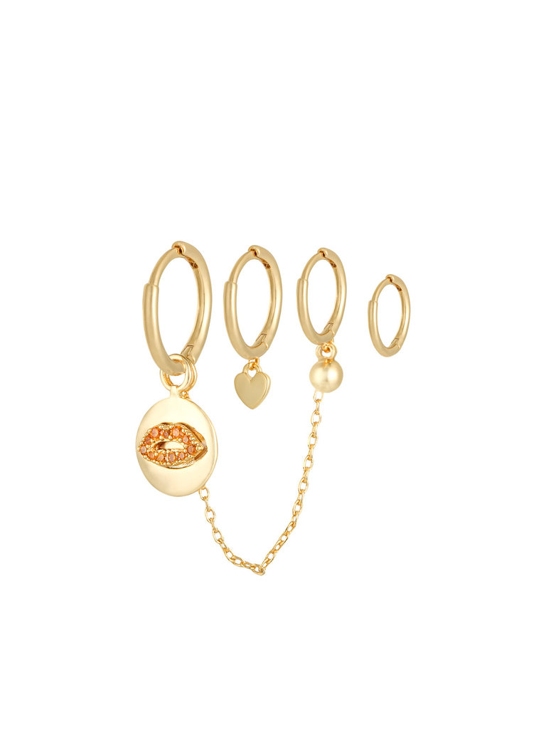 YEHWANG Earrings Set Lips and Love